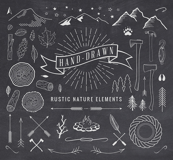 Free Hand-Drawn Rustic Vector Elements
