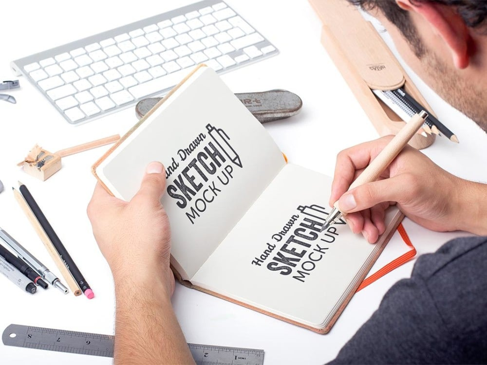 Free Hand Drawn Sketch Book Mockup PSD