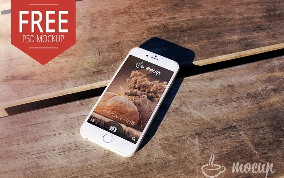 Free PSD iPhone 6 Mockup Desk
