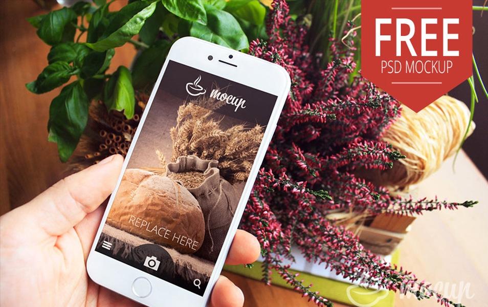 Free PSD iPhone 6 Mockup Home