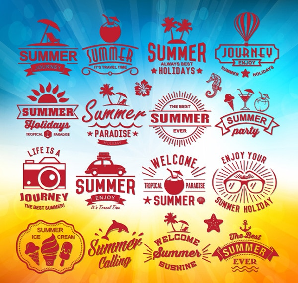 Free Summer Vector Logos with Vector Background