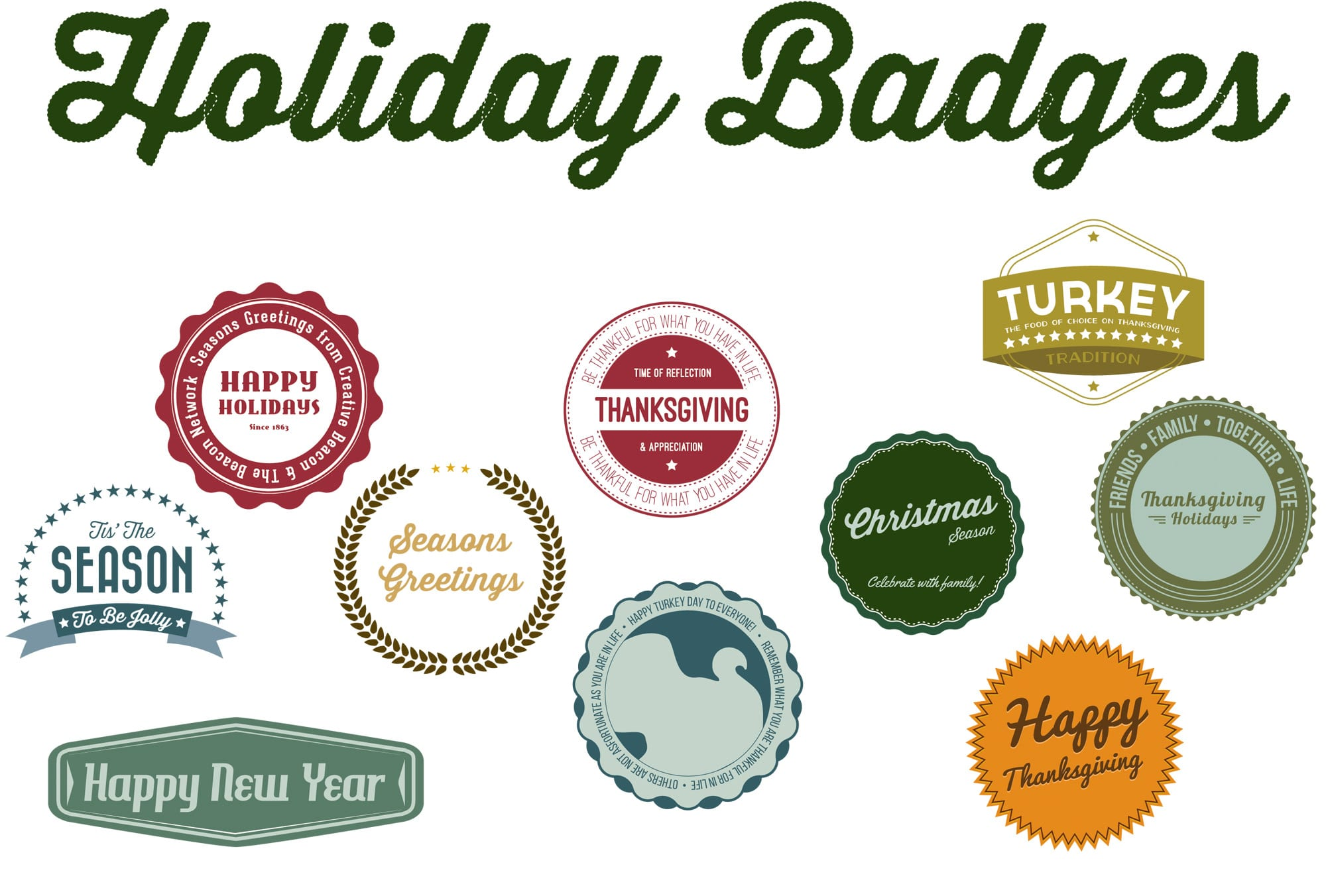 Free Vector Holiday Season Badges