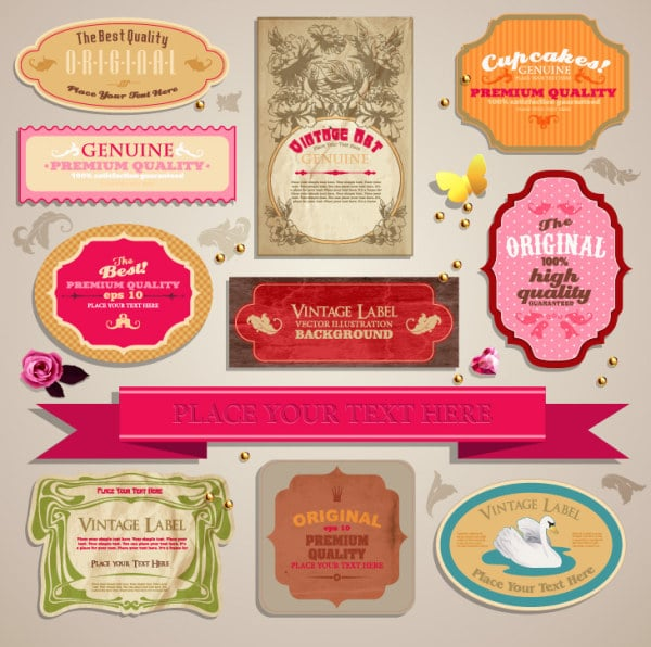 Free Vintage Labels Tags Vector