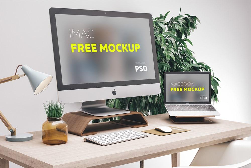 Free iMac MacBook MockUP PSD