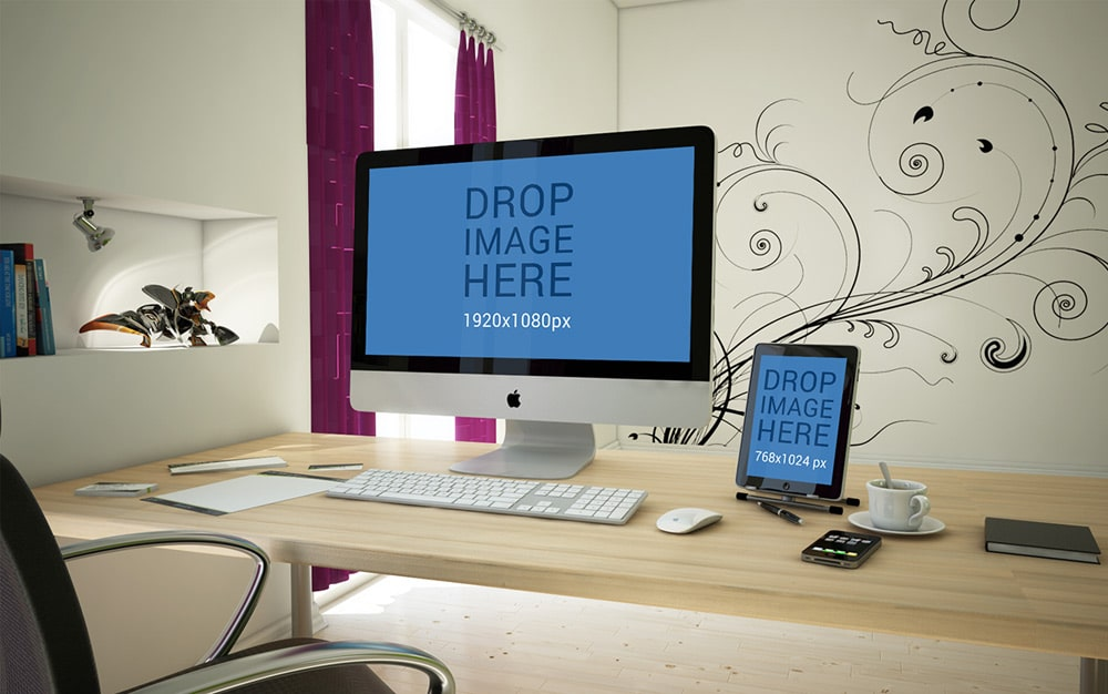 Free iMac and iPad Mockup PSD
