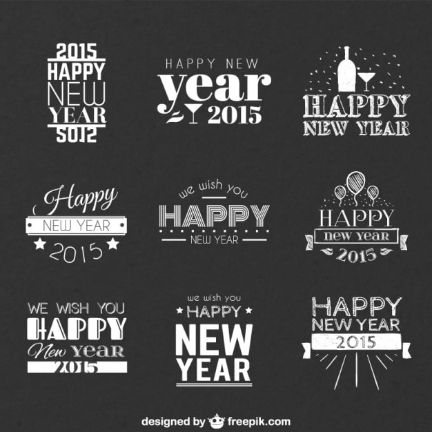 Happy New Year Greetings Vectors