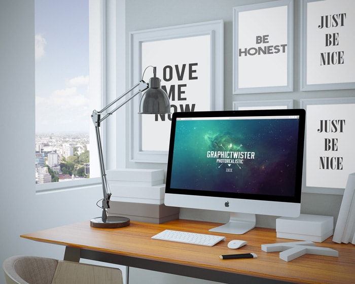 Home Workspace Mockup PSD