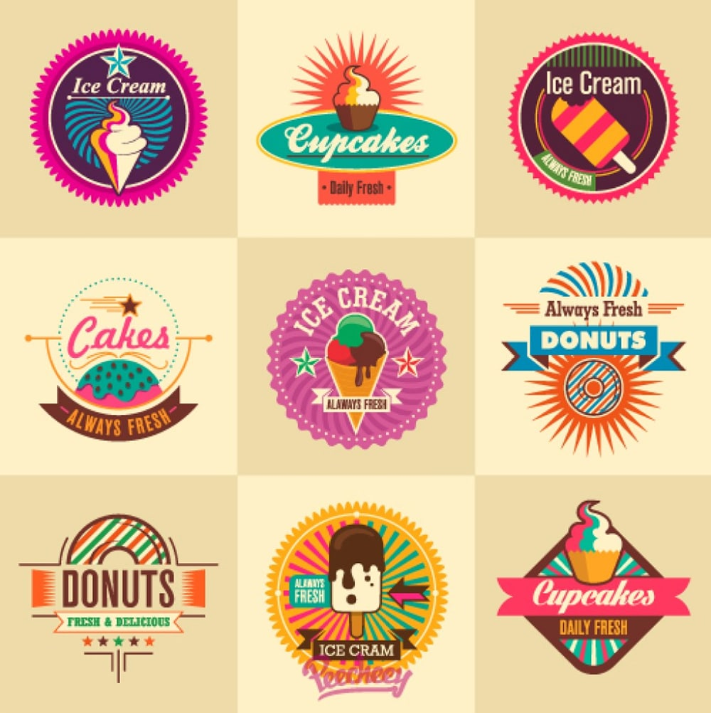 Ice cream retro stickers