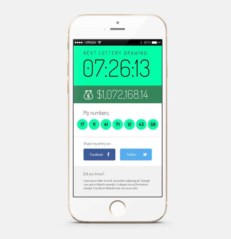 Lottery app iOS screen