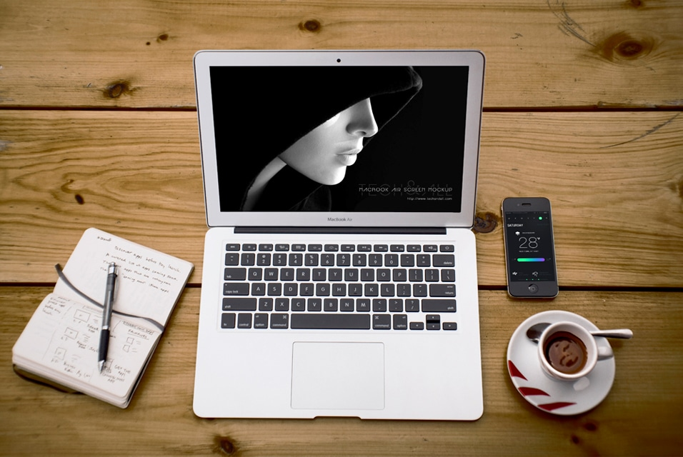 Macbook Air with Prespective Mockup Screen