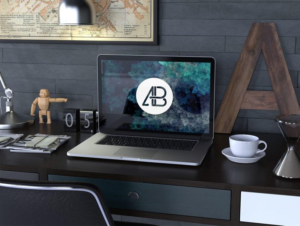 Realistic Retina Macbook Pro Mockup PSD
