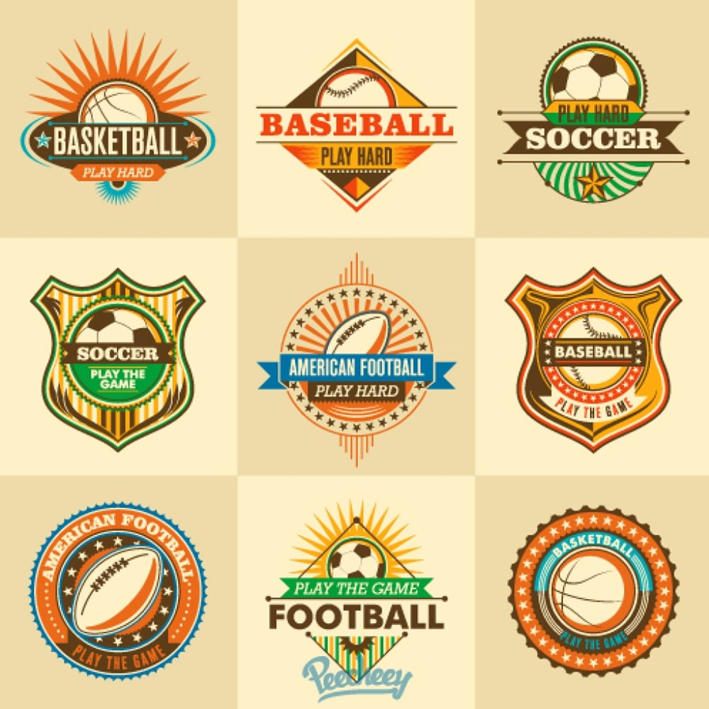 Retro sports stickers vector
