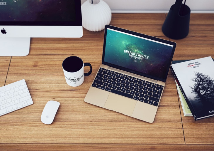 Top View of MacBook Workspace Mockup PSD