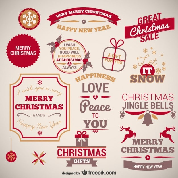 Vintage Christmas Badges Collection Vector