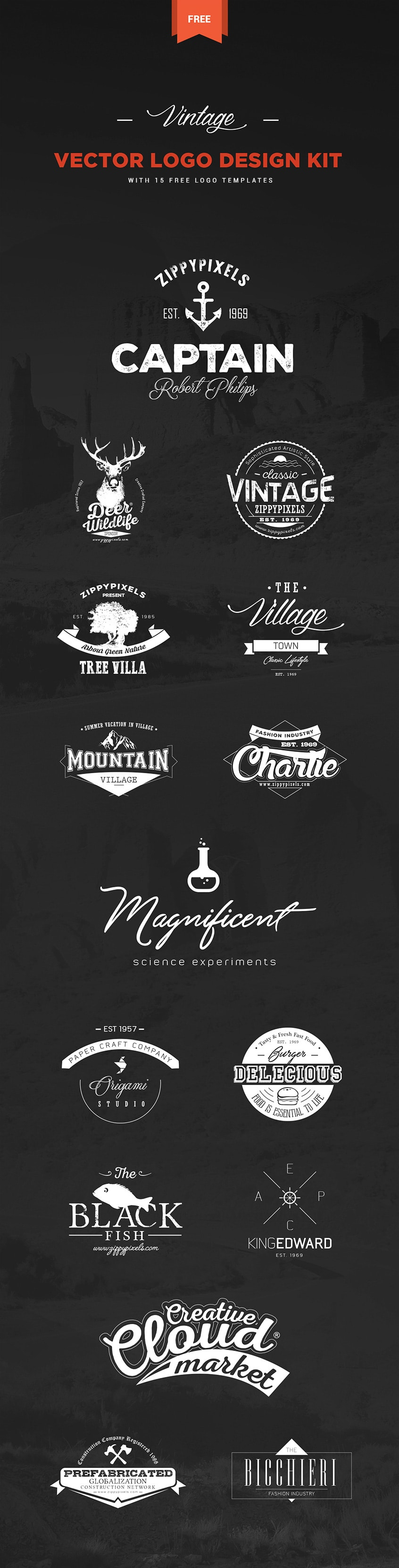 Vintage Vector Logo Design Kit
