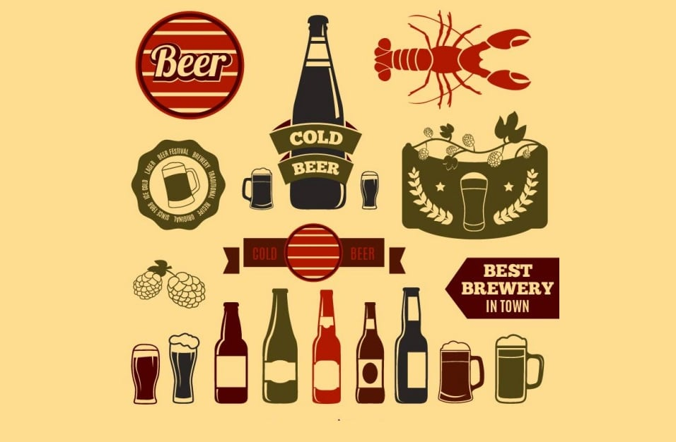 Vintage beer design elements