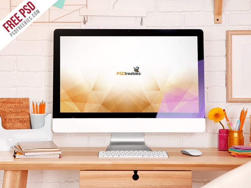 iMac Desktop Workspace Mockup PSD