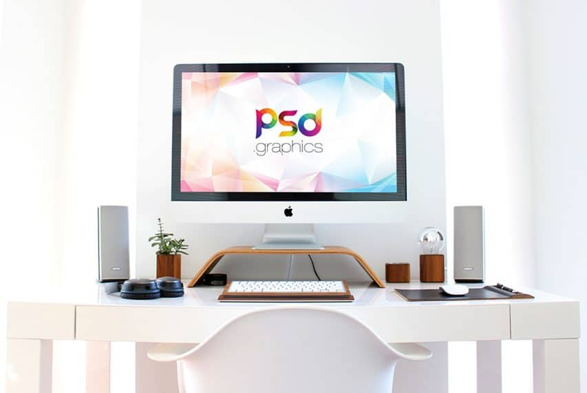 iMac Workspace Mockup PSD