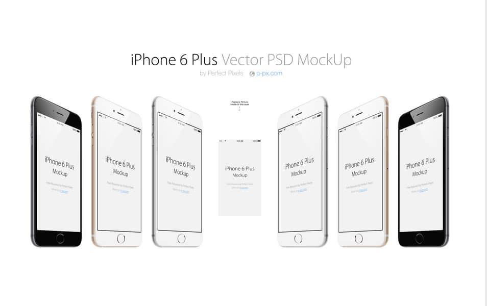 iPhone 6 Plus Free Angled PSD MpckUp