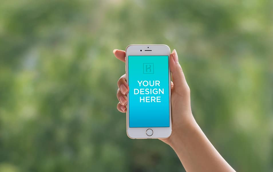iPhone 6 in Andrea's hand! FREE PSD