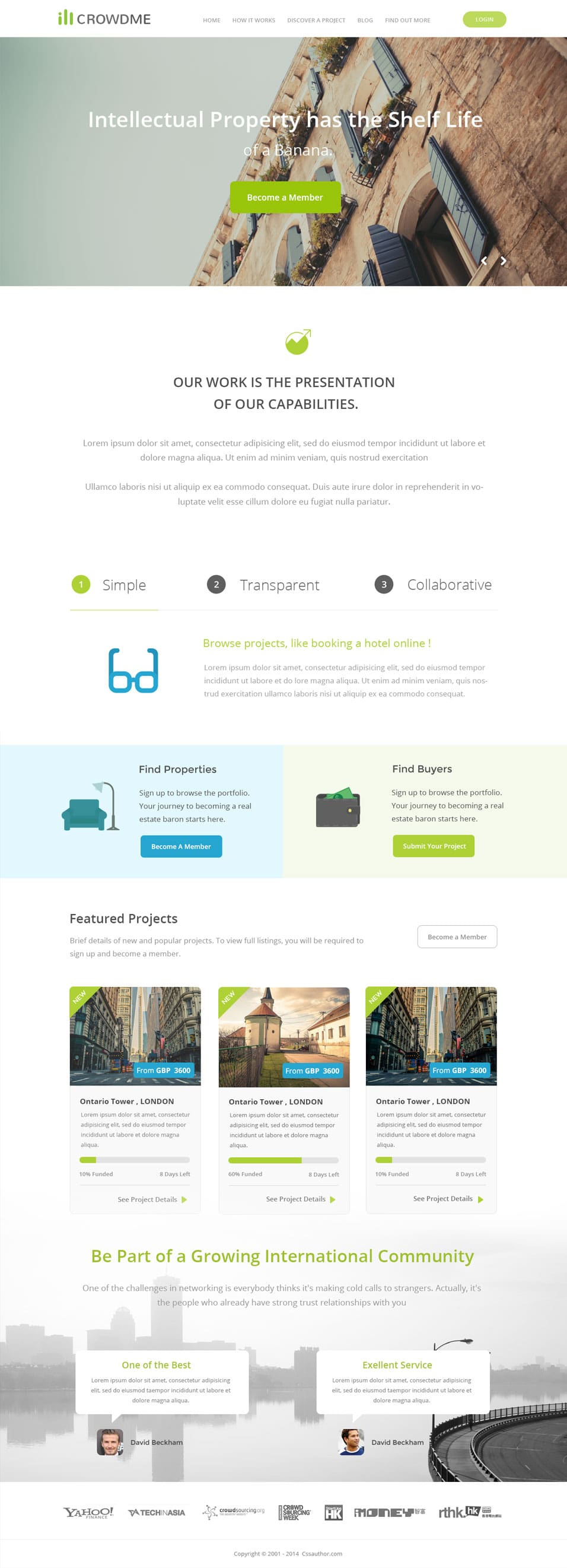 icrowdme – Free Website Template PSD