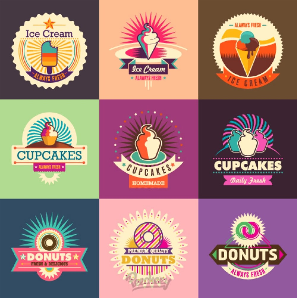 retro ice cream stickers