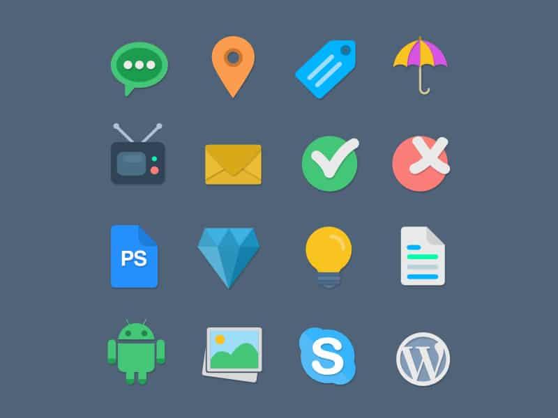 16 Flat Web Icons