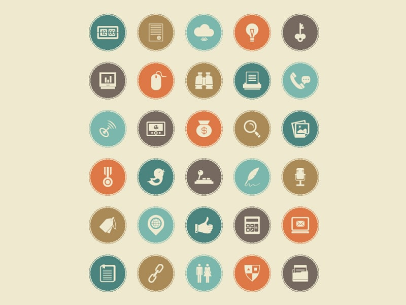50 Retro Flat Icon Set