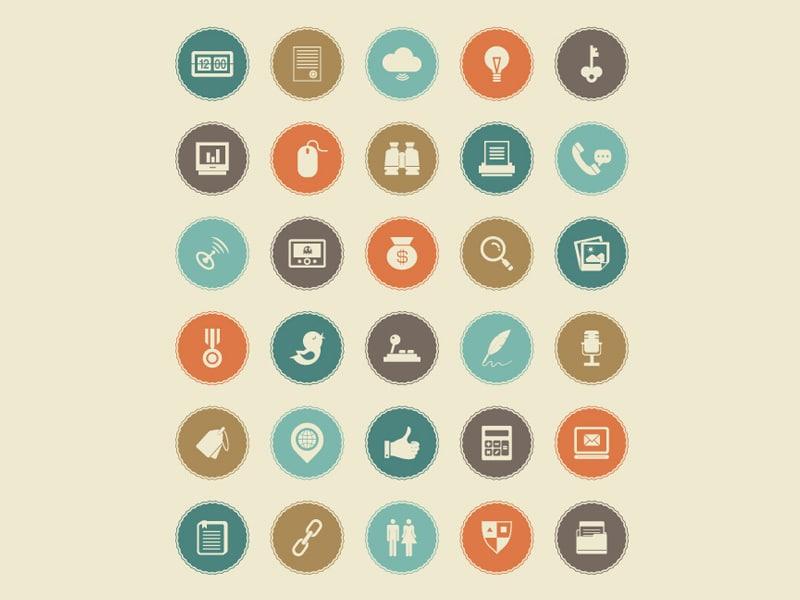 50 Retro Flat Icon Set