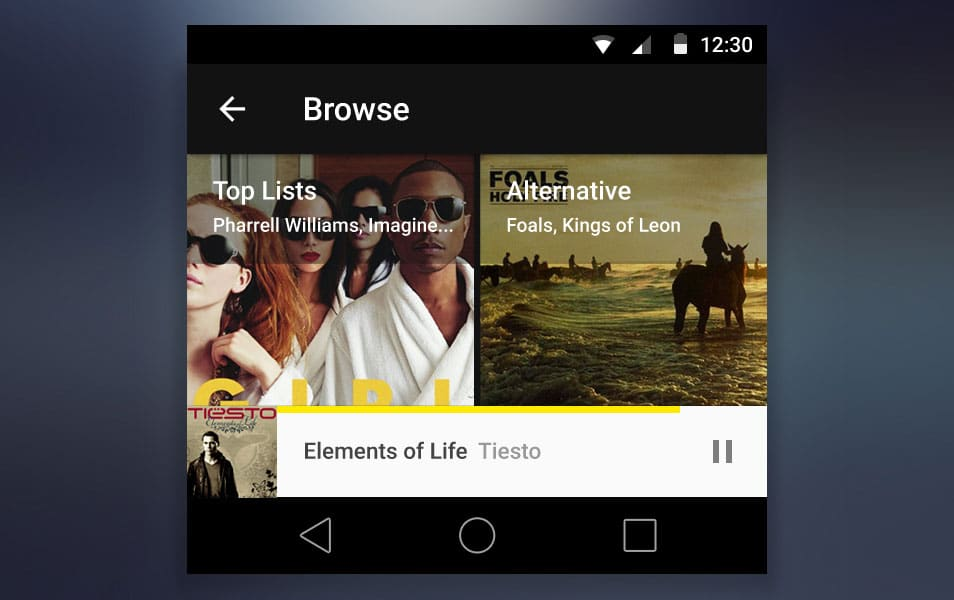 Android L PSD kit - Browse Screen