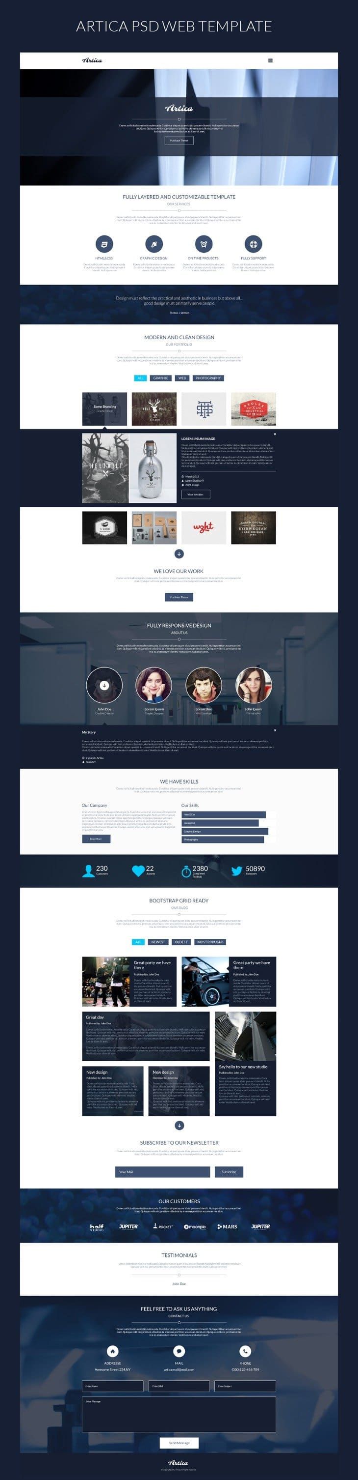 Artica – One Page Web Template PSD
