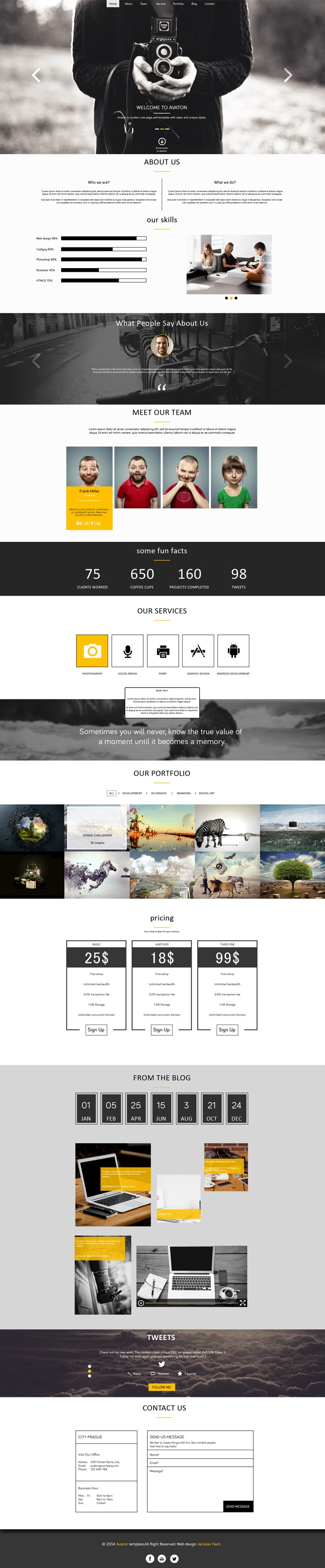 Avaton Free One Page Template PSD