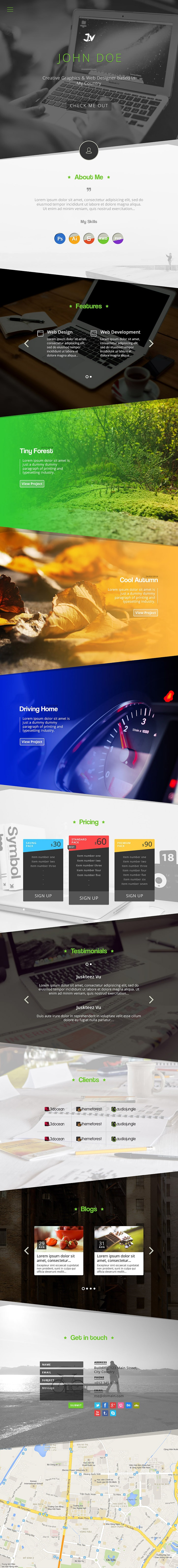 Bangoes One Page Portfolio Free Template PSD