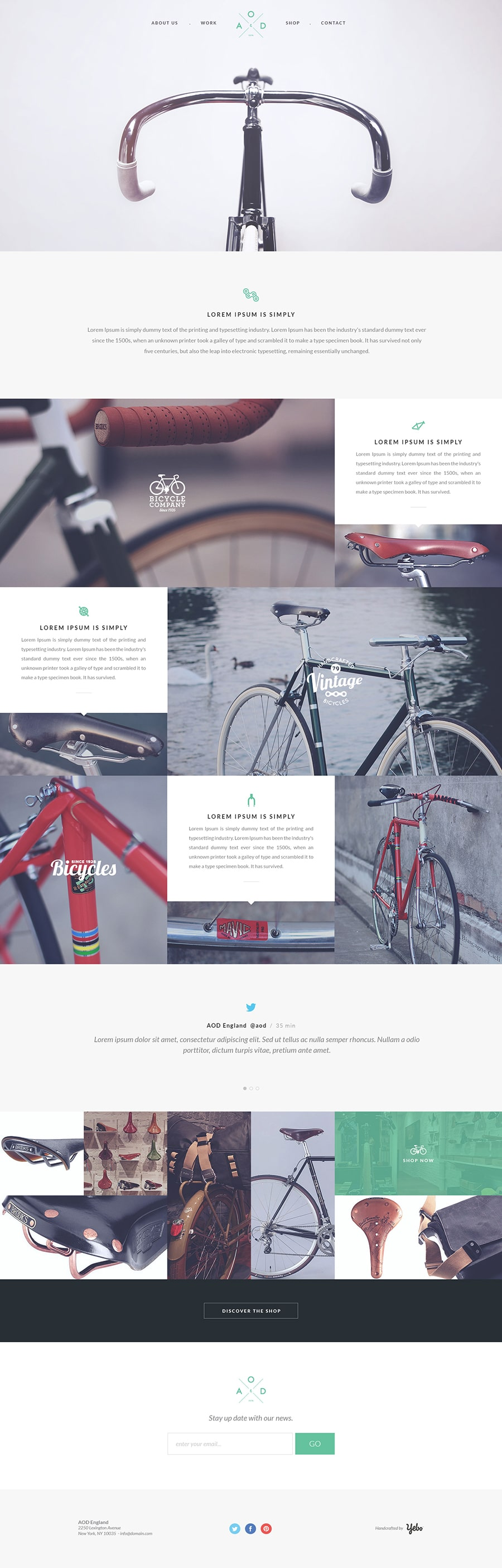 Bicycle – Free One Page Template PSD