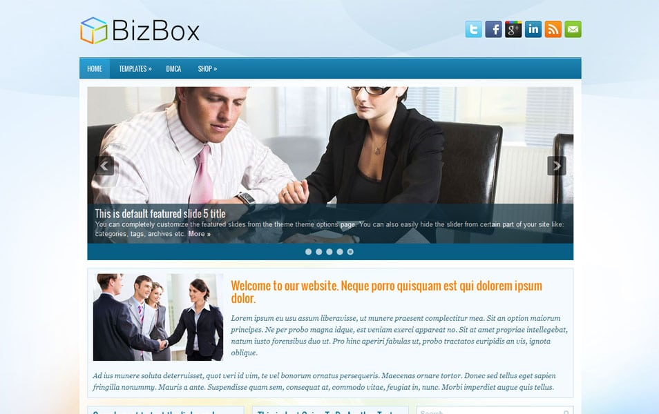 BizBox Free Portfolio WordPress Theme