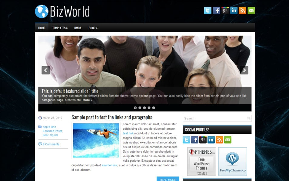 BizWorld Free Portfolio WordPress Theme