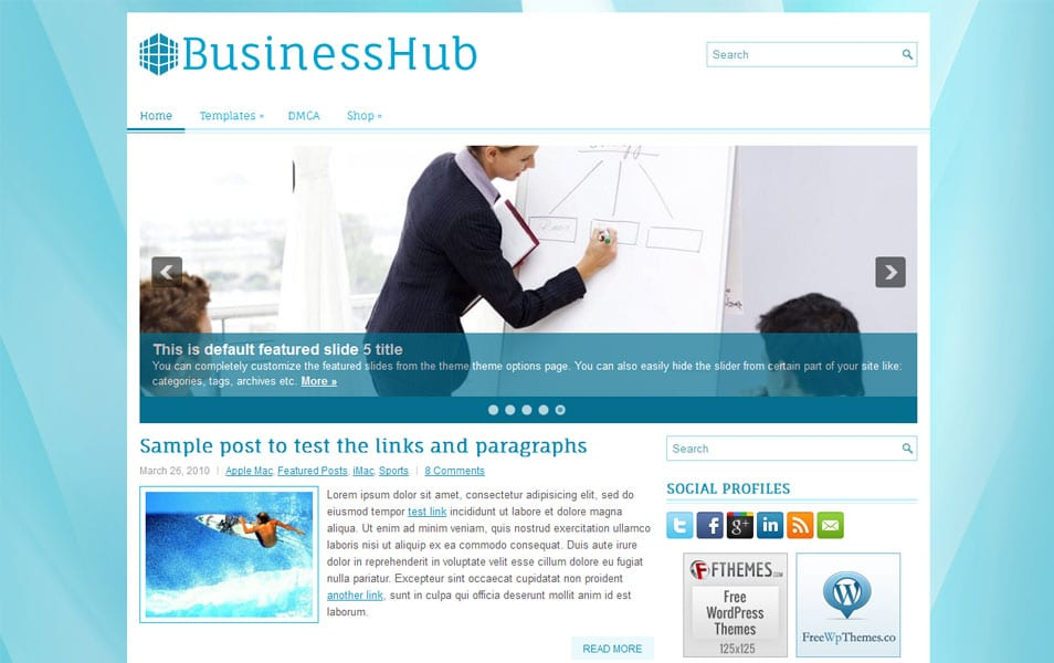 BusinessHub Free Portfolio WordPress Theme