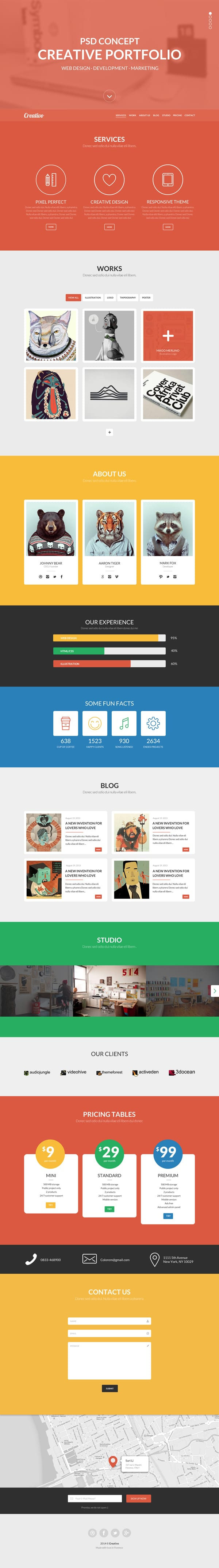 Creativo – Free One page PSD Template