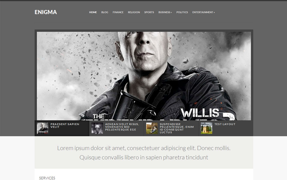 Enigma Free Portfolio WordPress Theme