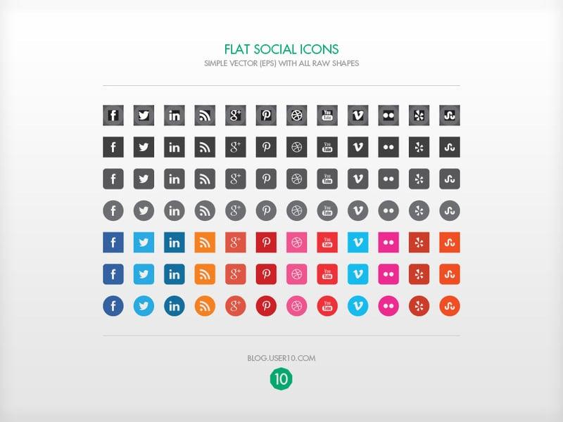 Flat Vector Social Icons