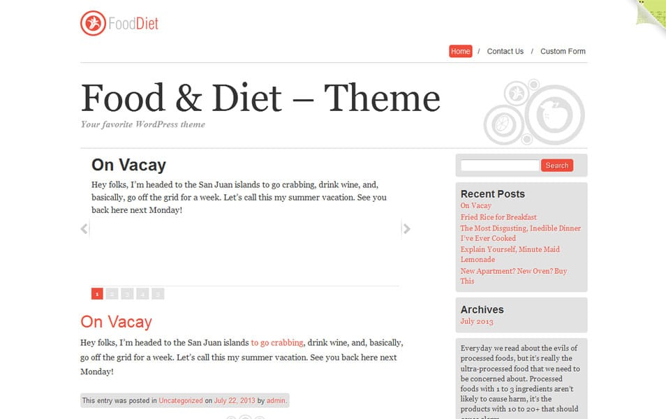 Food and Diet Free Portfolio WordPress Theme