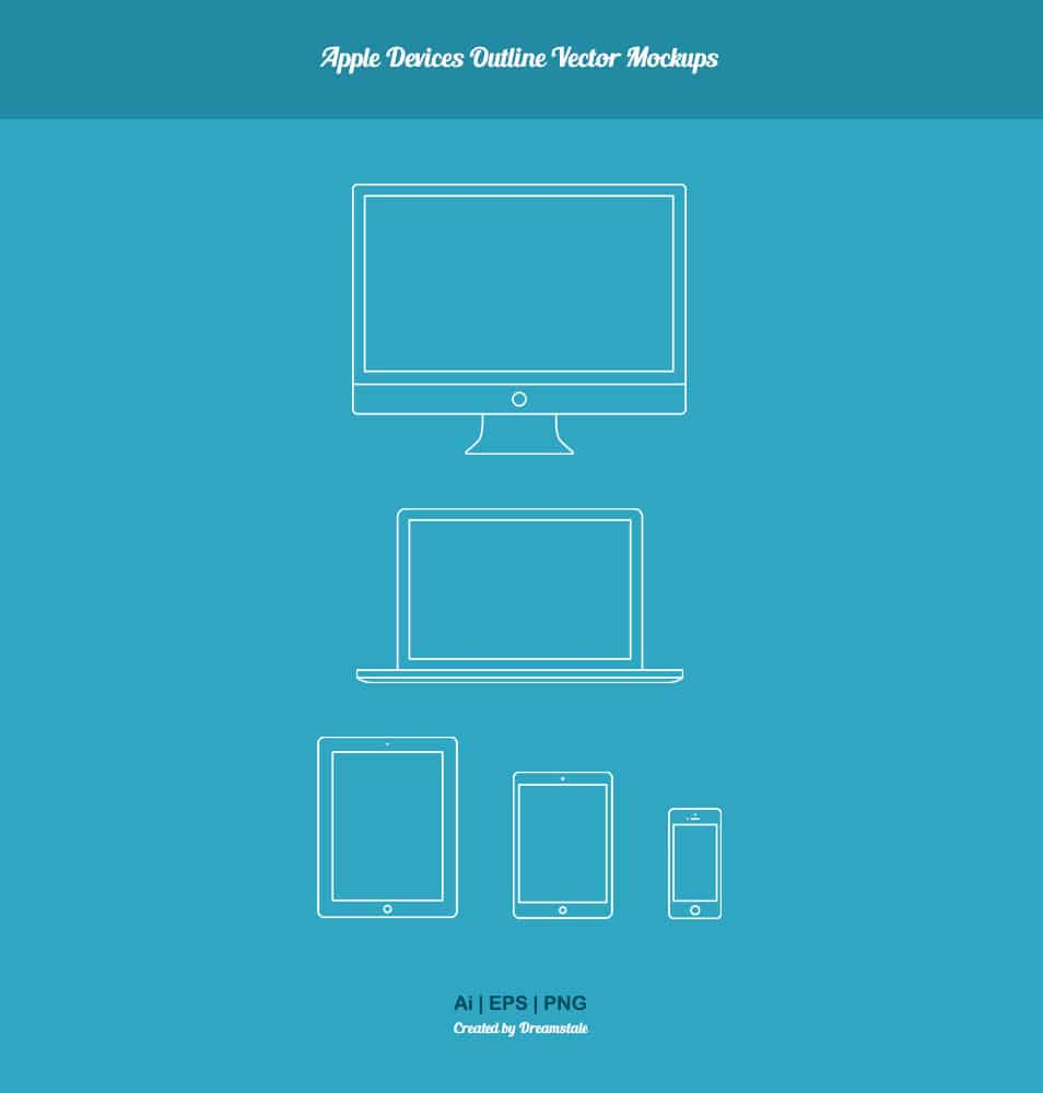 Free Apple Devices Outline Vector Mockups