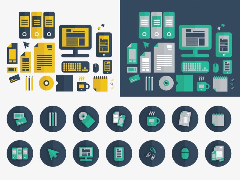 Free Flat Graphic Design Icon Set