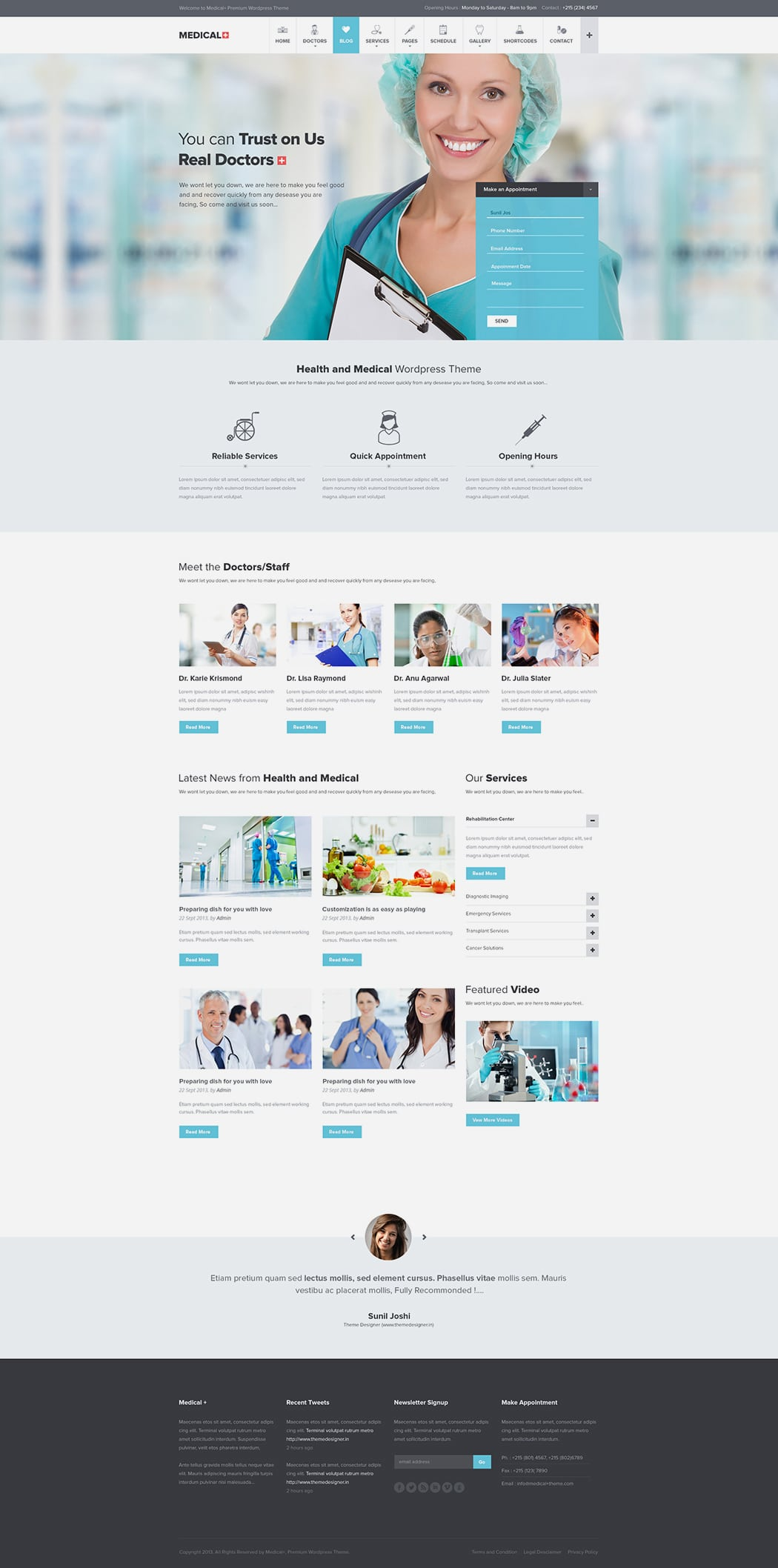 Free Medical WP Theme PSD