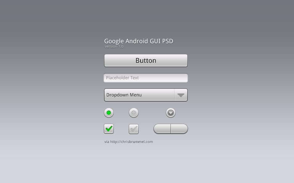 Google Android GUI PSD