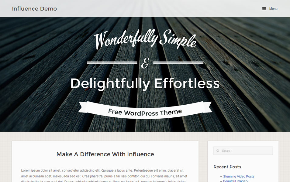 Influence Free Portfolio WordPress Theme