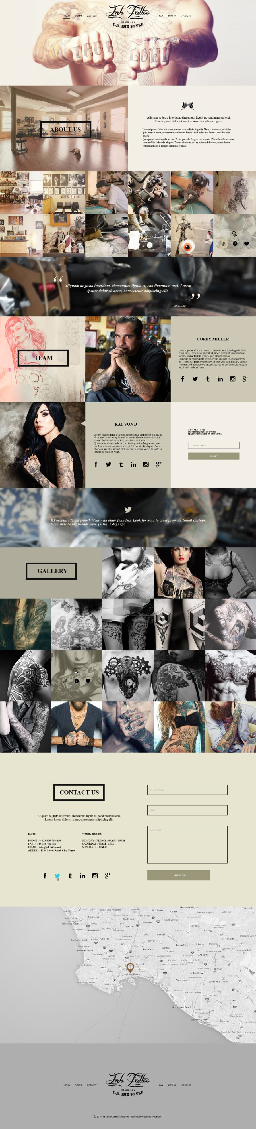 InkTattoo – Free PSD One Page Template