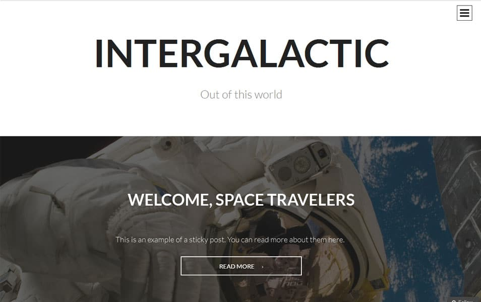 Intergalactic Free Photography WordPress Theme