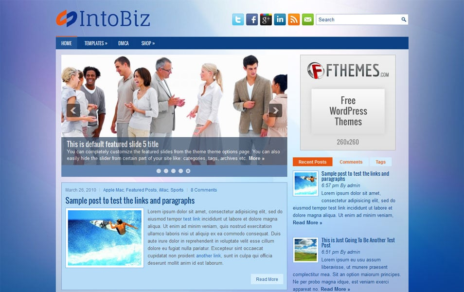 IntoBiz Free Portfolio WordPress Theme