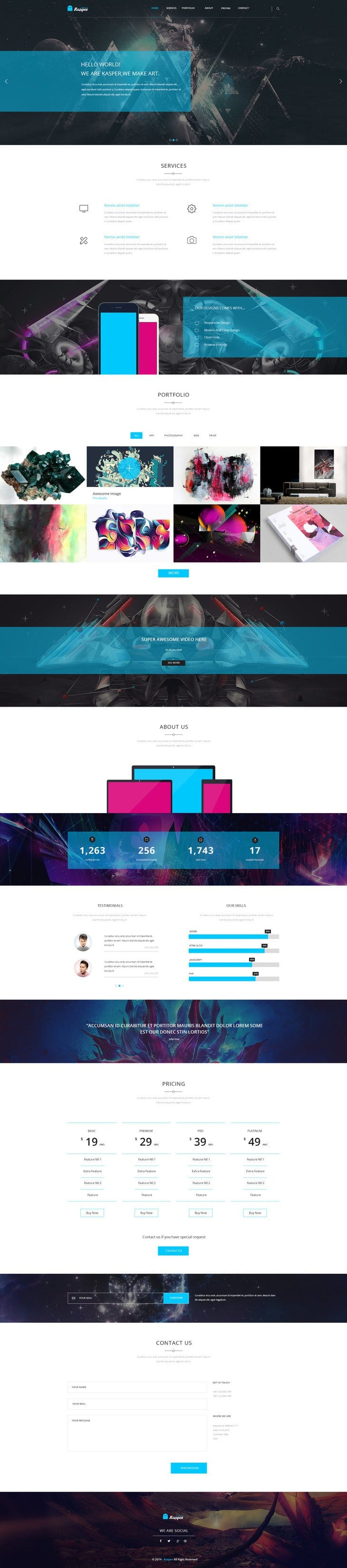 Kasper – One Page Creative PSD Template